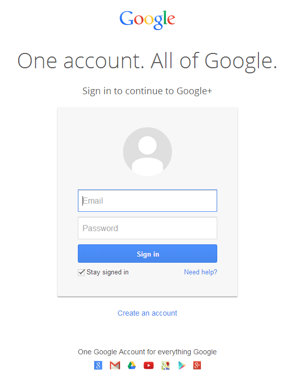 Google Account sign up form